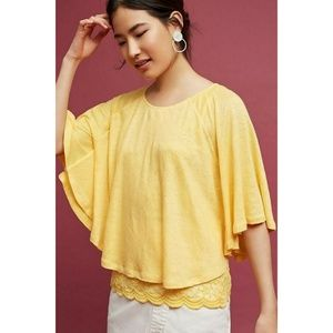 New Anthropologie Lace & Linen Cape Top Yellow